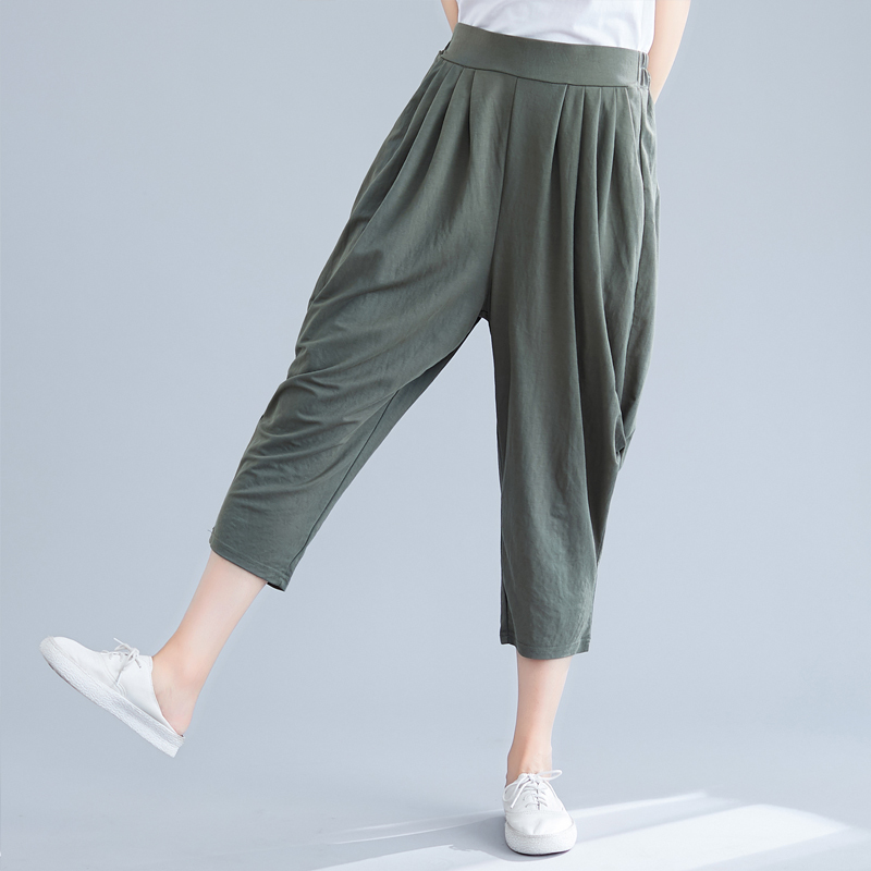 Vintage Women 2019 Summer Pant Capris Casual Loose Elastic Waist Thin Solid Color Harem Pants For Women