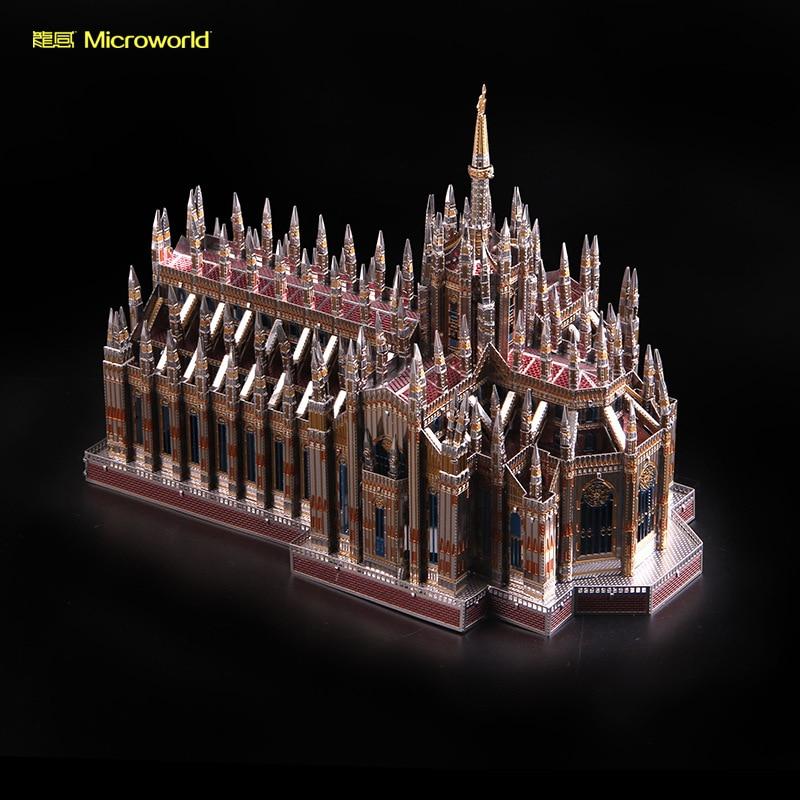 2018 nouveau Microworld 3D Nano Puzzle Churchof Duomo En Métal Modèle DIY laser de coupe Jigsaw puzzle bâtiment modèle Jouets pour adultes cadeau