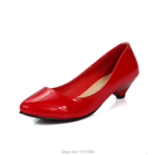 2016 hot fashion low-heeled shoes women's pumps round toe patent leather women shoes single shoes small big size 32-43 0106