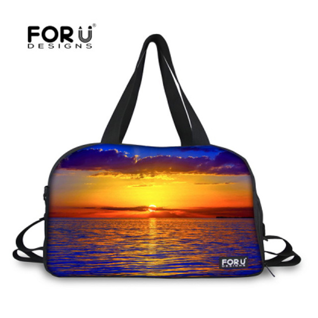 fcdc573f10e7 FORUDESIGNS Setting Sun Designer Student Carry on Luggage Bag Women  Weekender Bag Female Travel Duffel Bag with Shoe Pocket