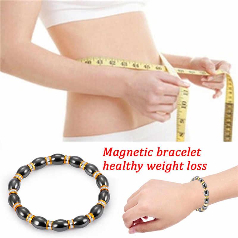 Magnetic Hematite สุขภาพสร้อยข้อมือผู้หญิงผู้ชายสีดำ Magnetite Malachite หลายสีคริสตัล healing กำไลข้อมือ