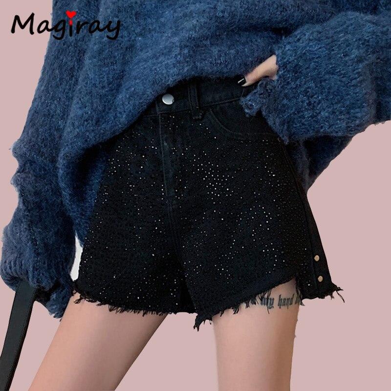 Magiray Harajuku High Waist Sequin Jeans Shorts Women Tassel Sexy Wide Leg Flare Denim Shorts Female Booty Black Short Pants C02