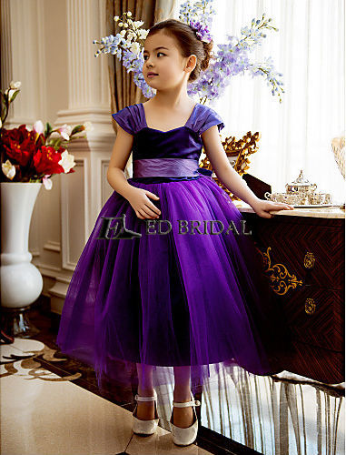 Ball Gown Sweetheart Tea length Satin And Tulle Dark Purple Flower ...