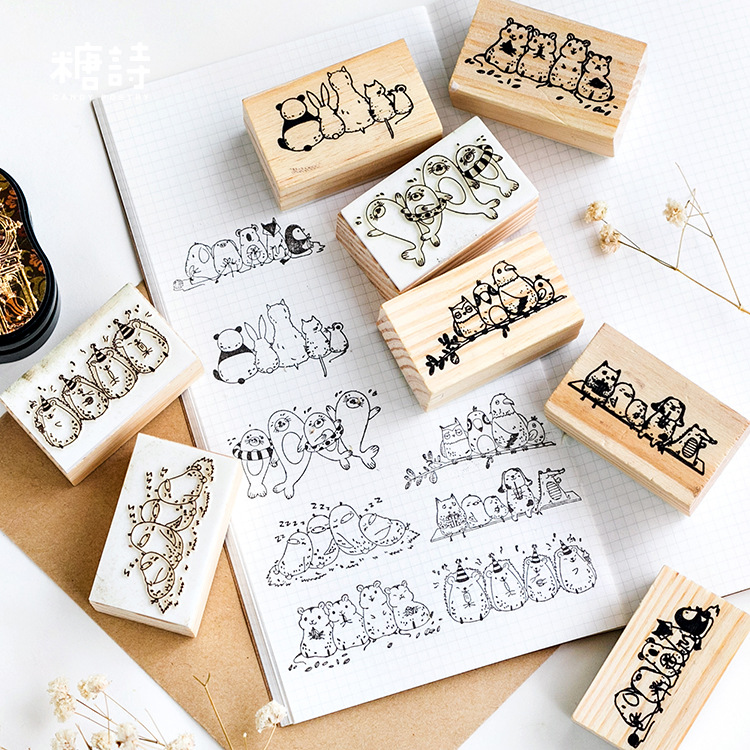 Cartoon Animal Friend Play Together Wooden DIY Stamp Set Student Prize Promotional Gift Stationery image