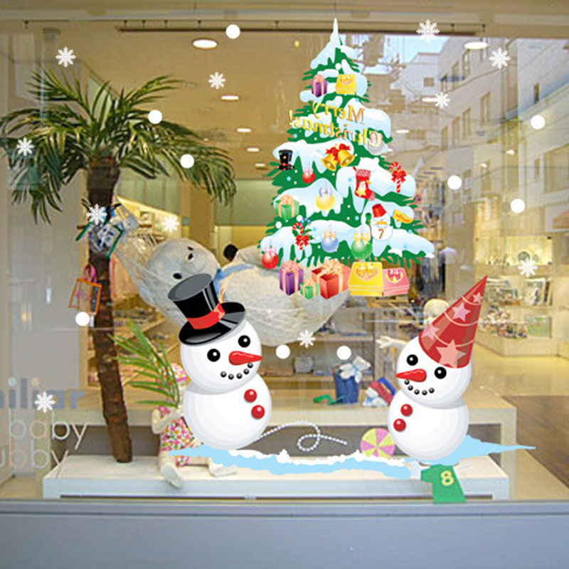 New shop window snowman christmas tree christmas wall for Shop xmas decorations