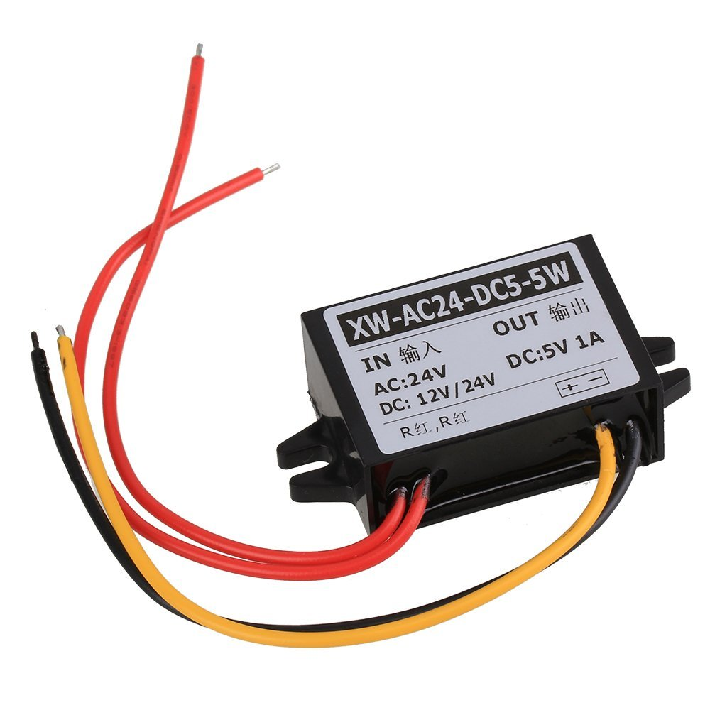 Waterproof Car LED AC / DC Power Buck Converter AC 24V to DC 5V 1A 5W Short-circuit ProtectionWaterproof Car LED AC / DC Power Buck Converter AC 24V to DC 5V 1A 5W Short-circuit Protection