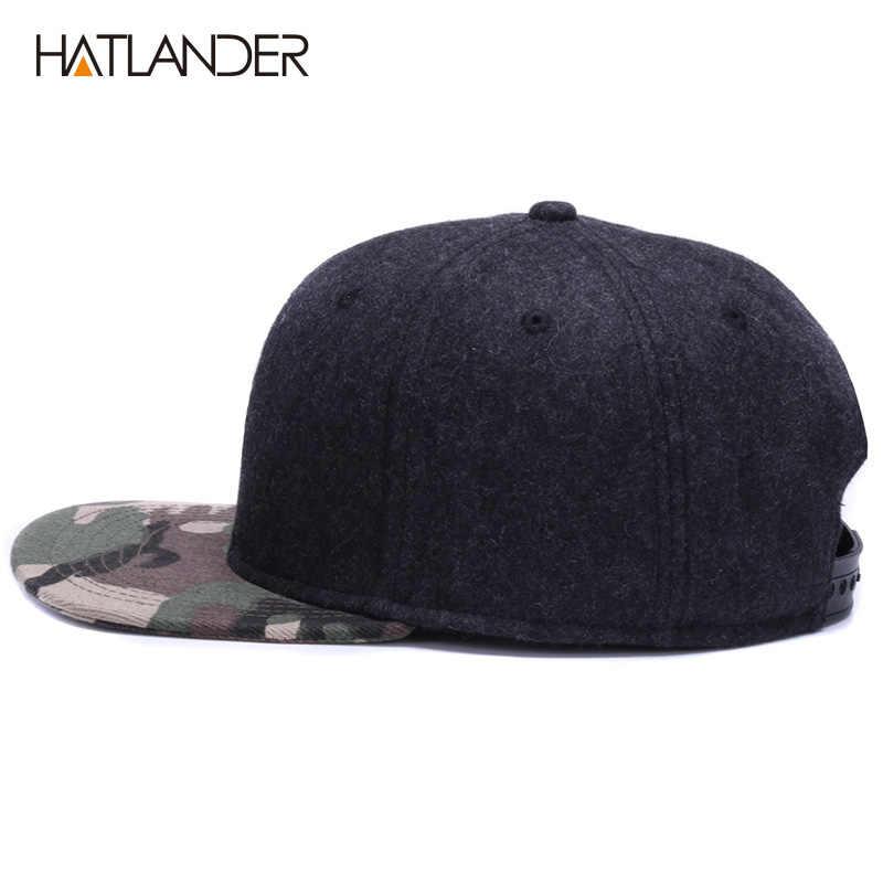 ... HATLANDER High quality Wool snapback caps plain camouflage baseball cap  and hat men women winter hat ... ae05ace28a3