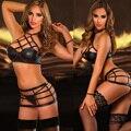 Novo Sexy mulheres Faux couro preto Push Up Lingerie erótica oco Bondage macacão Ladygaga Clubwear pólo de dança roupas