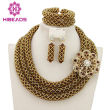 2016 Latest African Wedding Jewelry Set Handmade Crystal Beads Necklace Jewelry Sets Bridal Jewelry Set Free
