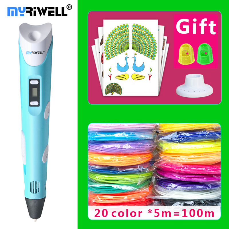 myriwell 3d pen 3d pens,LED display,20x5mABS/PLA Filament,Best Gift for Kids 3 d pen-3d magic pen 3d model Smart 3d printer pen цена