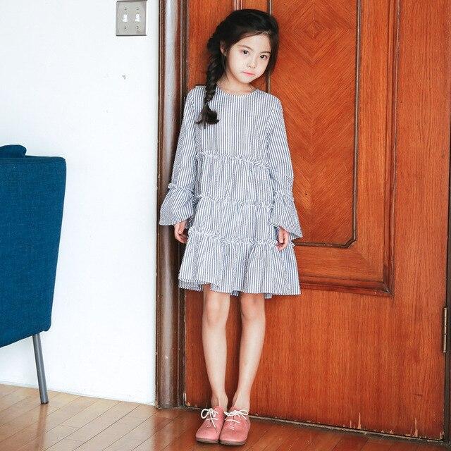 4839b55d82a43 École manches longues princesse robe fille enfants vêtements pour filles  rayé automne peu grande fille robes