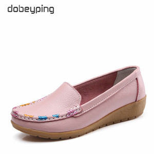 Image 5 - dobeyping Slip On Womens Loafers Spring Autumn Shoes Woman Genuine Leather Flats Women New Female Moccasins Shoe Big Size 35 41