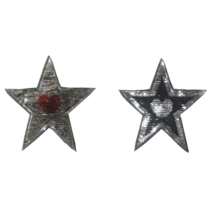 Sequined Change Color Patches Reversible Pentagram Heart Design Applique Sticker Sweater Badge Garment Accessory 1PC