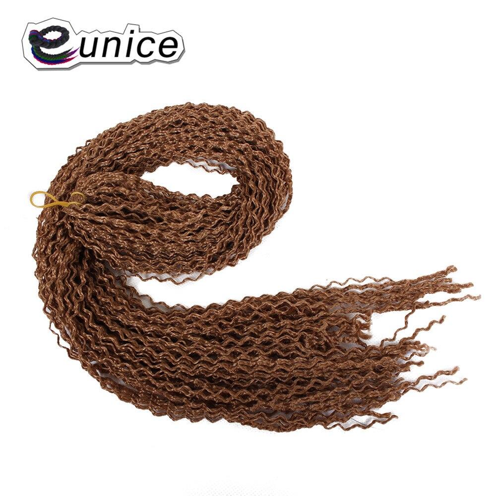 28 дюймов Eunice синтетическая коробка косички тонкий твист Zizi косичка волос богемный стиль коричневый/# 99j/Блонд крючком косы для наращивания волос