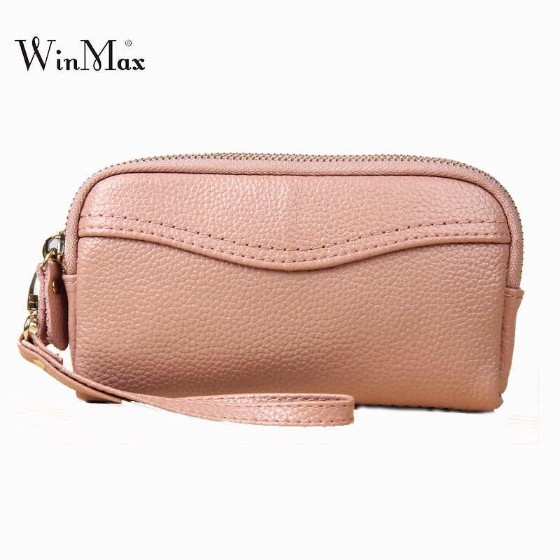 bcd2220b627c Real cow Leather Bag Women hand bag Clutches Casual Female coin purse phone  Bags Multifunction wristlet