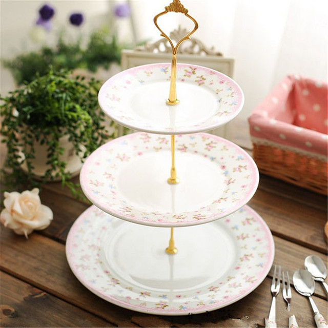 Gold/Silver 3 or 2 Tier Cake Plate Stand Handle Crown Fitting Rod Wedding Party & Gold/Silver 3 or 2 Tier Cake Plate Stand Handle Crown Fitting Rod ...