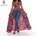2016 лето Африканские платья для женщин стиль Одежды Нерегулярные с плеча топы Анкара воск батик хлопчатобумажной ткани печати партии top