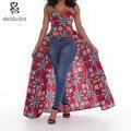2016 verão vestidos Africanos para as mulheres Roupas de estilo Irregular fora do ombro tops de Ancara cera batik tecido de algodão de impressão de topo do partido