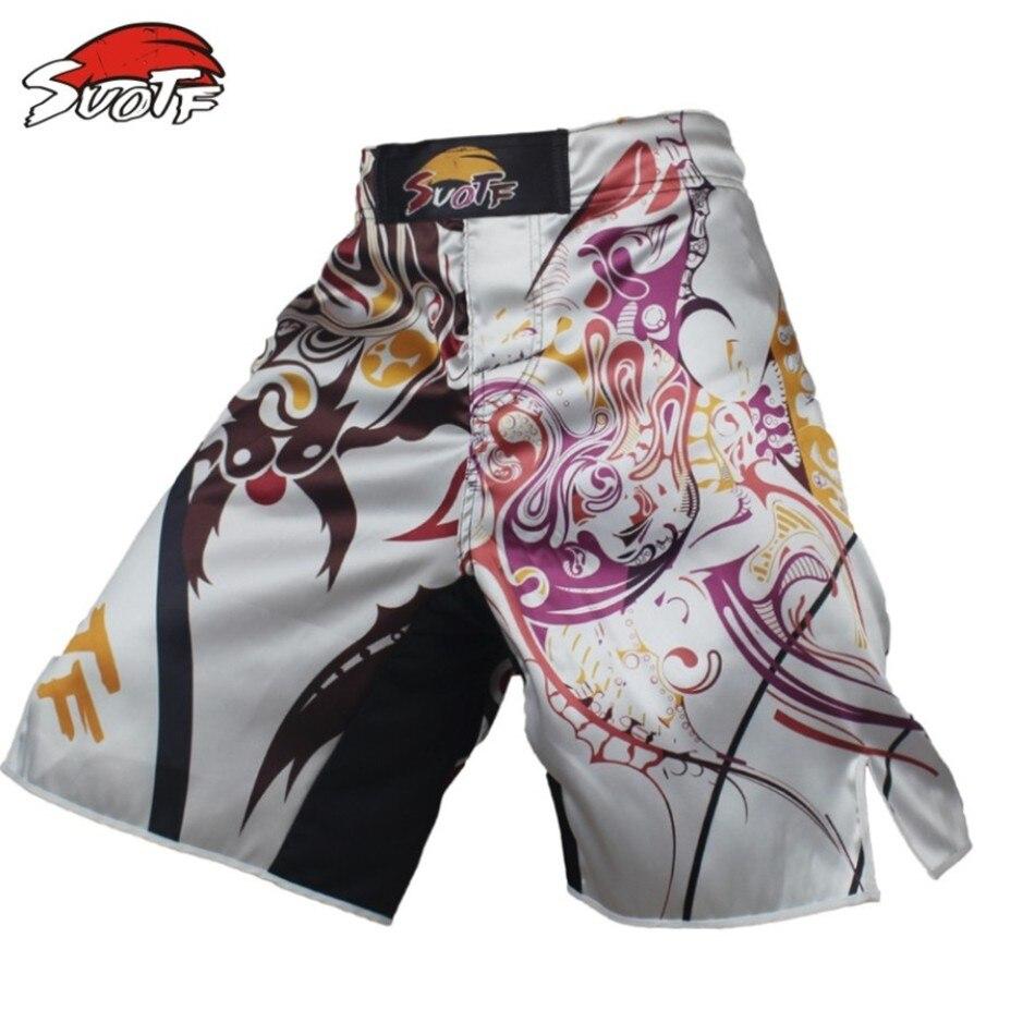Suotf Beyaz Akrep Geometrik Iddetli Mcadele Spor Boks Pantolon Pin Sablon Thailand 12mm Mma Tiger Muay Thai Ort Giyim Kickboks