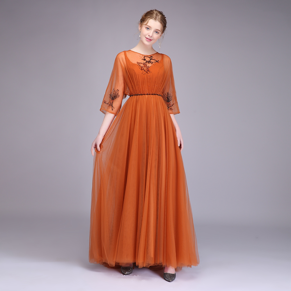 3eefce4934 US $58.0 |Clearance SSYFashion Banquet Elegant Caramel Colour Evening Dress  Half Sleeved Simple Beading Prom Party Gown Robe De Soiree-in Evening ...