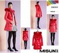 Misun casaco de retalhos de pele de coelho pele de raposa fino espessamento médio-longo para baixo casaco feminino