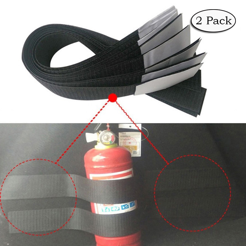 2 Pack Car Auto Trunk Organiser Fasten Bandage Mount Magic Tape Belt Tie Holder 60CM Black YJ012