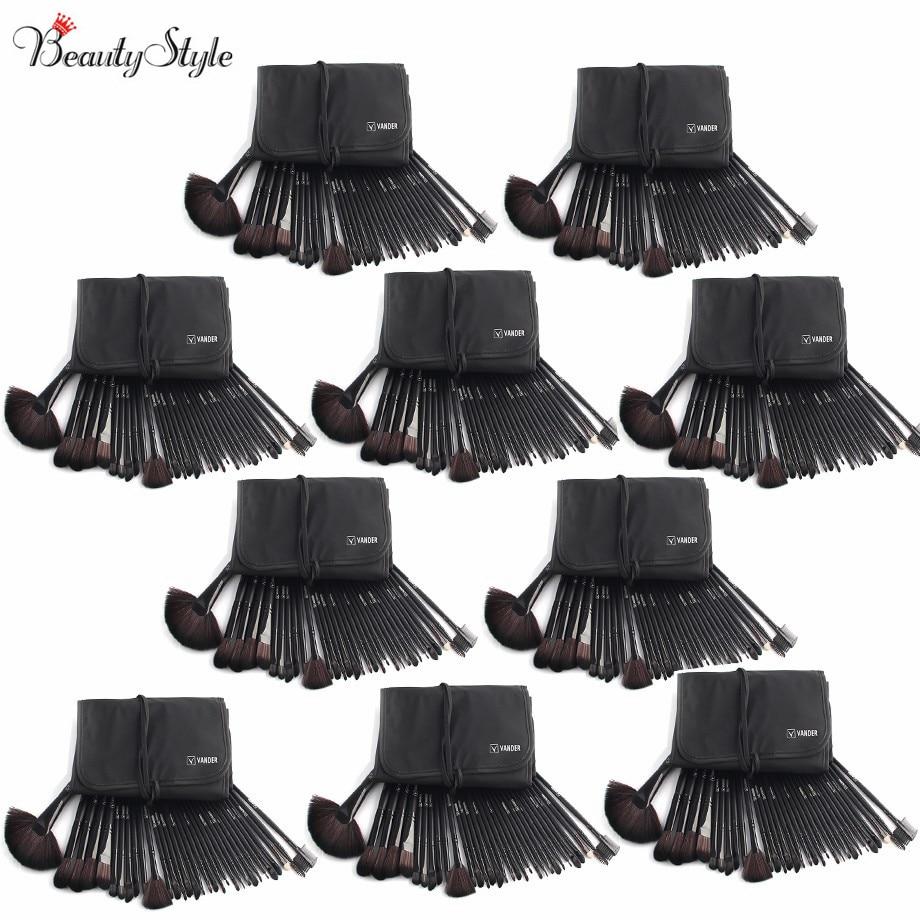 (Wholesale) Classic Black 10 Sets / 32pc Makeup Brushes Foundation Powder Pinceaux Maquillage Cosmetics + Pouch Bag Professional