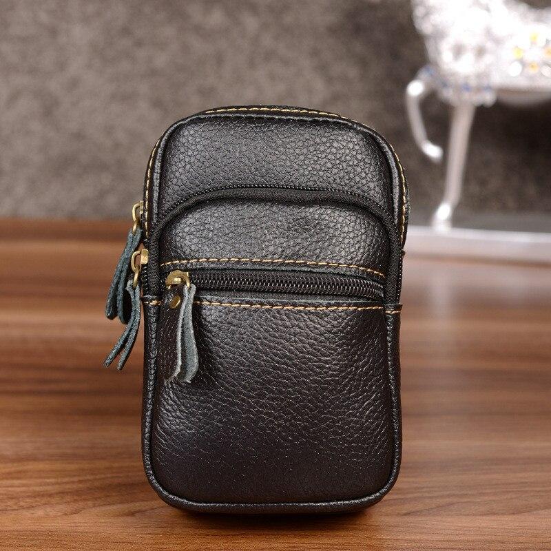 HUANILAI Cowhide Waist Pack Mens Belt Bags Genuine Leather Phone
