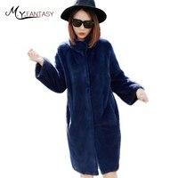 M.Y.FANSTY 2017 Winter Fur Mink Coat Female Whole Mink Jacket Deep Blue Mink Real Fur Mandarin Collar Thin Slim Mink Fur Coats
