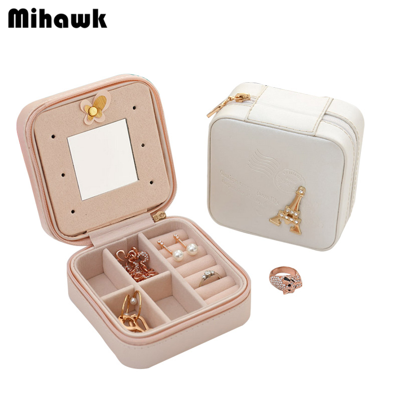 Mihawk Womens Earring Jewelry Case With Makeup Mirror Ladys Necklace Ring Organizer Box  ...