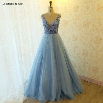Robe de bal longue 2019 new sexy V neck tulle back a line light blue prom dresses cheap elegant gala jurken real photos