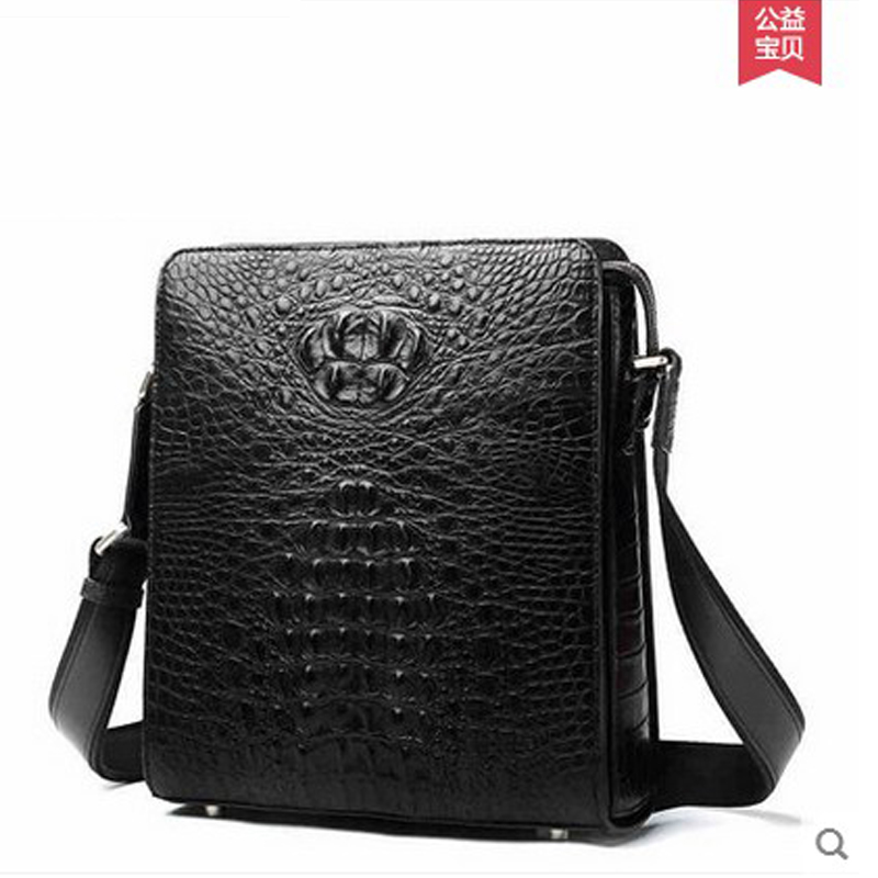 2018 hlt new Thai crocodile single shoulder bag aslant men bag  men's handbags business casual men's bags large capacity delin foreign female bag bag handbag shoulder aslant crocodile grain lady handbags package a undertakes the new trend