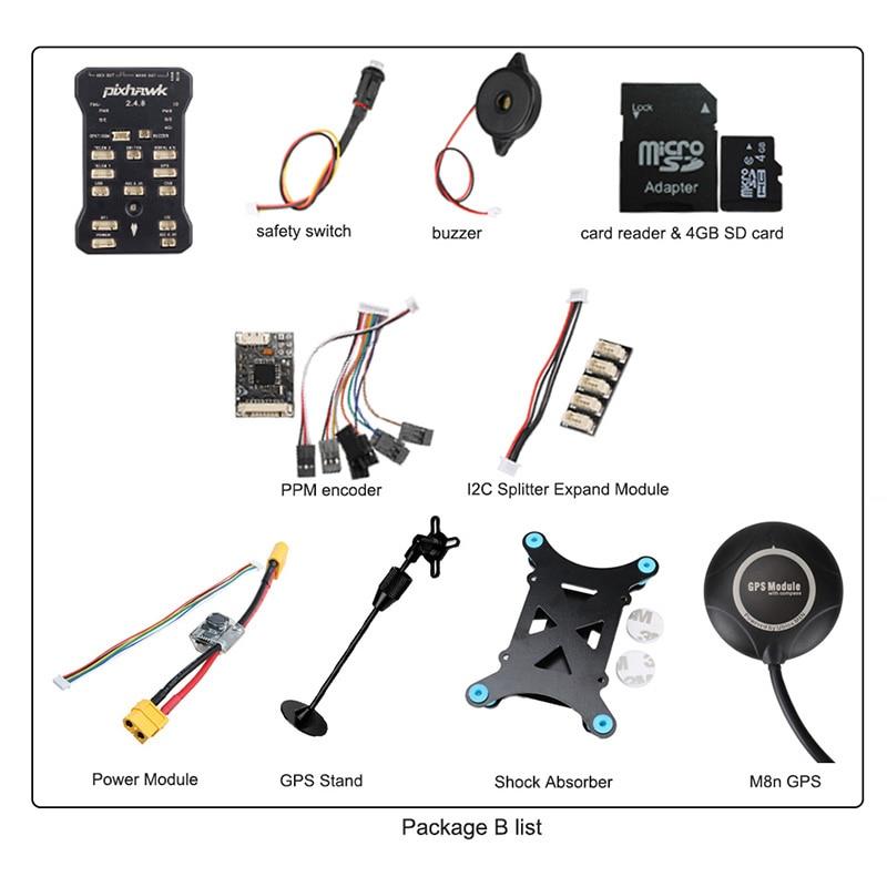 US $62 89 25% OFF|Pixhawk PX4 PIX 2 4 8 32 Bit Flight Controller w/ 4G SD  Safety Switch Buzzer M8N GPS+PPM+I2C+shock Absorber+xt60 power module-in