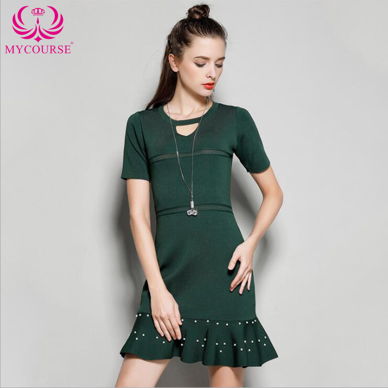 Brand Fashion Elegant Hollow Out Pearl Embellished Party Dress Short Sleeve Ruffled Summer Style Cocktail Club Party Femal Dress