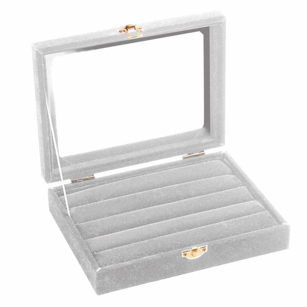 Luraka المخملية مجوهرات من الزجاج حلقة عرض المنظم حافظة حامل صينية صندوق تخزين القرط 19abr11 دروبشيبينغ مجوهرات صندوق