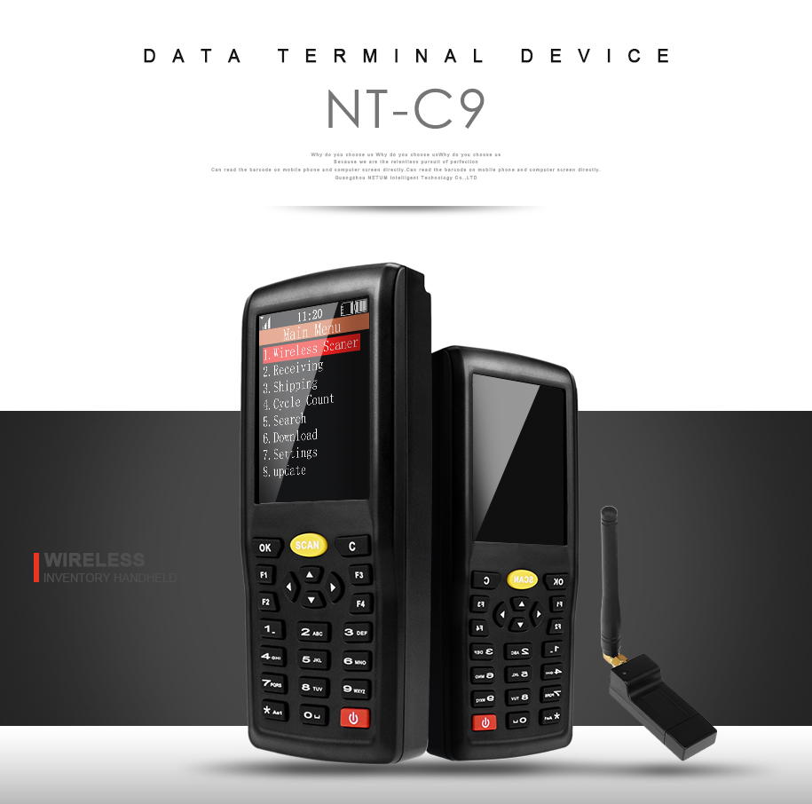 C9 Wireless Barcode Collector Portable Data Terminal Inventory Device 1D/ 2D /QR Code Reader PDT with TFT Color LCD Screen NETUM