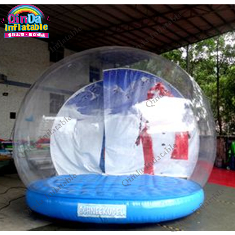 3m diameter blow up snow ball photo booth tent, inflatable clear globe tent for Christmas decoration