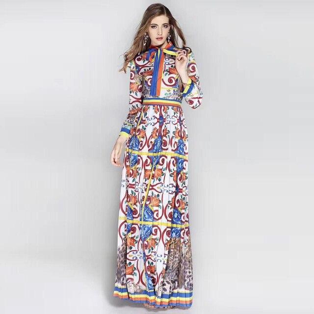 a8b1391c1 Alta calidad diseñador otoño Vestidos largos Mujer pasarela moda animal  estampados Vintage flores plisado playa Casual