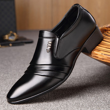 Black Shoes Loafers Business-Dress Oxford Formal Pointy Fashion Luxury Brand PU Men
