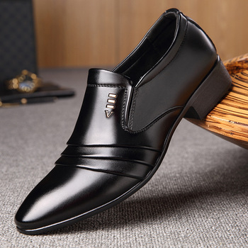 Luxury Brand PU Leather Fashion Men Business Dress Loafers Pointy Black Shoes Oxford Breathable Formal Wedding Shoes luxury brand pu leather fashion men business dress loafers pointy black shoes oxford breathable formal wedding shoes
