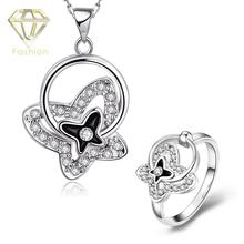 2017 Cute /Rose/White Gold Plated Black Butterfly Necklace+ring Bridal Jewelry Sets