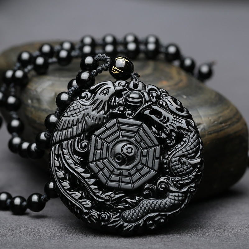 High Quality Unique Natural Black Obsidian hand Carved Dragon and Phoenix Lucky Amulet Pendant Necklace For Women Men pendant natural myanmar jadeite dragon pendant transshipment dragon brand zodiac dragon jade pendant necklace for women and men