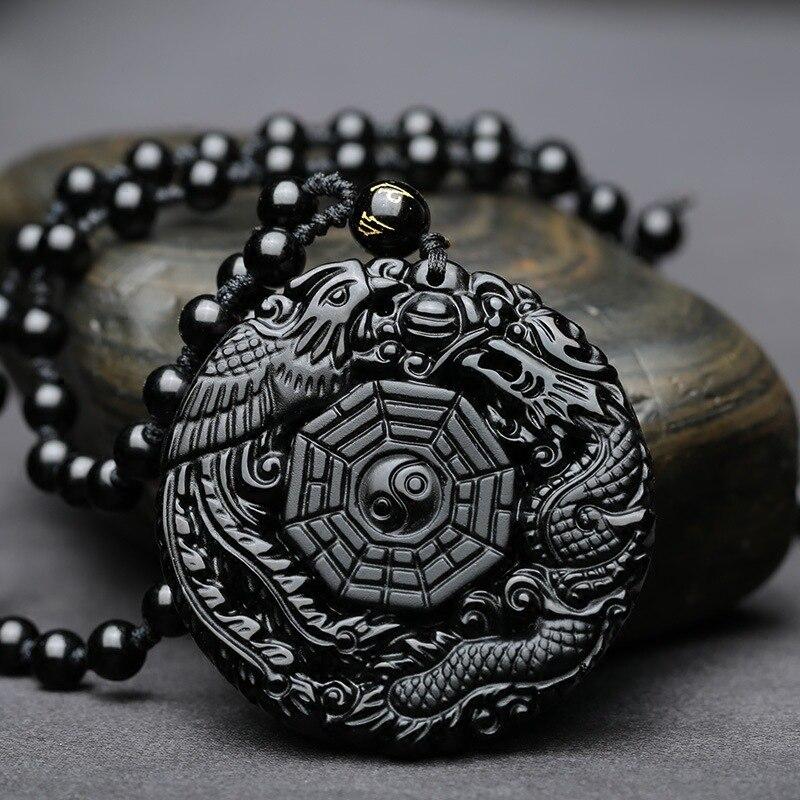 Hochwertige Einzigartige Natur Schwarz Obsidian hand Geschnitzten Drachen und Phönix Glück Amulett Anhänger Halskette Für Frauen Männer anhänger