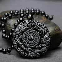 natural stone Quartz crystal Black Obsidian hand Carved Dragon and Phoenix Lucky Amulet Pendant for diy jewelry making necklace