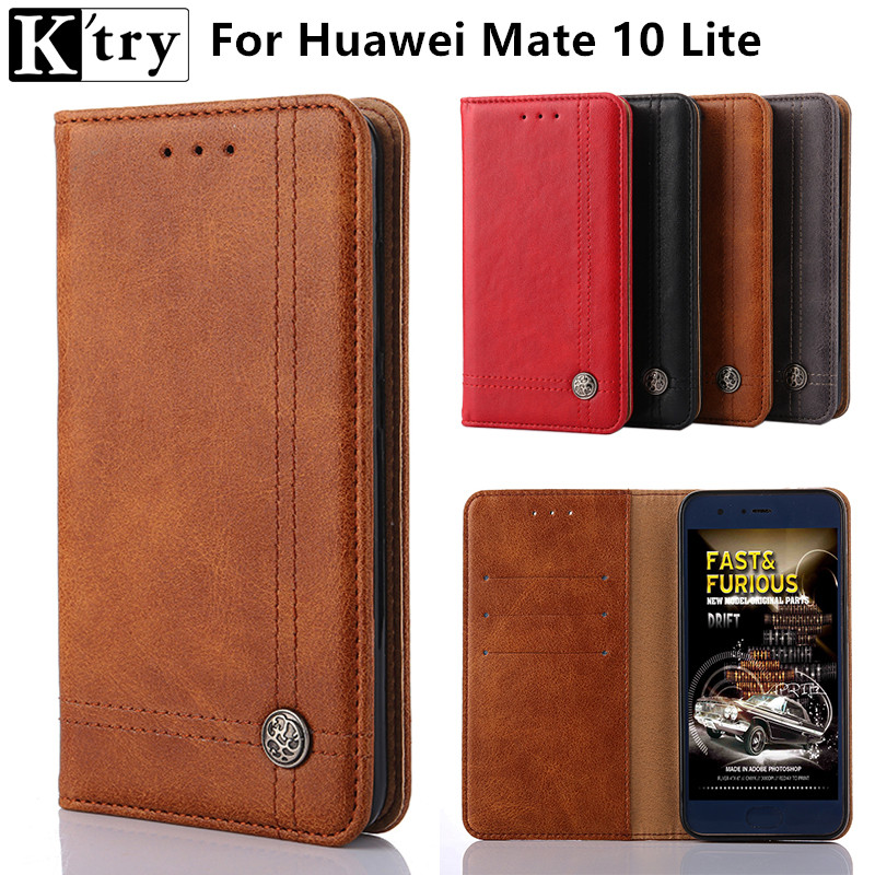 K'try Case For Huawei Mate 10 Lite Case Luxury PU Leather Wallet Phone Bags Cases For Huawei Mate 10 Lite Fundas Coque