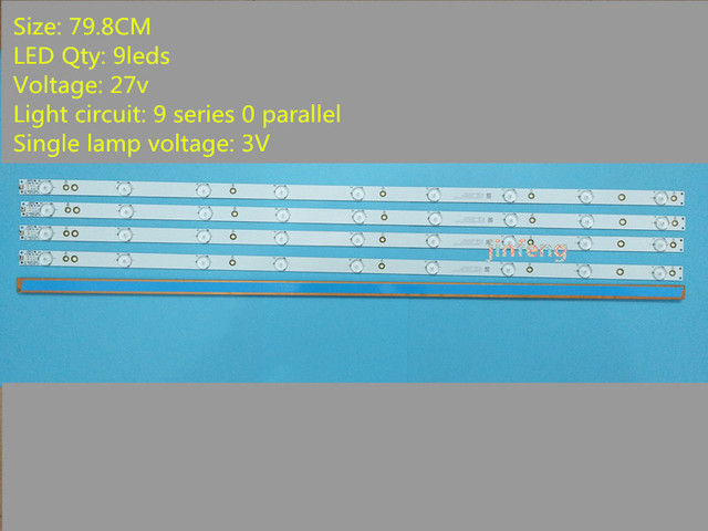 O Sony TV KDL 40R380D 40PFL3240 GJ DLEDI (Nuevo Kit) 4 PCS 9LED 798mm tira de retroiluminación LED fI P5 400 D409 V7 TPT400LA J6PE1