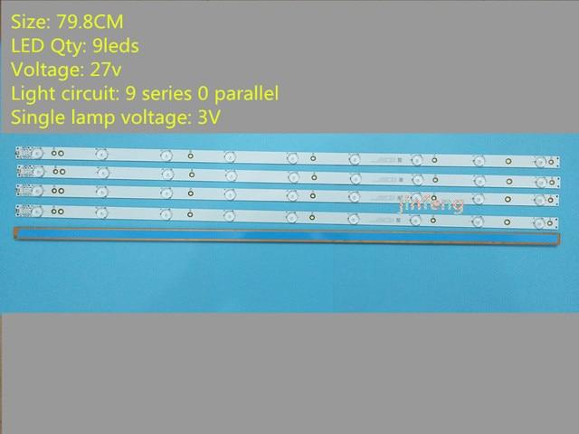 or Sony TV KDL 40R380D 40PFL3240 GJ DLEDI(New Kit) 4 PCS 9LEDs 798mm LED backlight strip fI P5 400 D409 V7 TPT400LA J6PE1