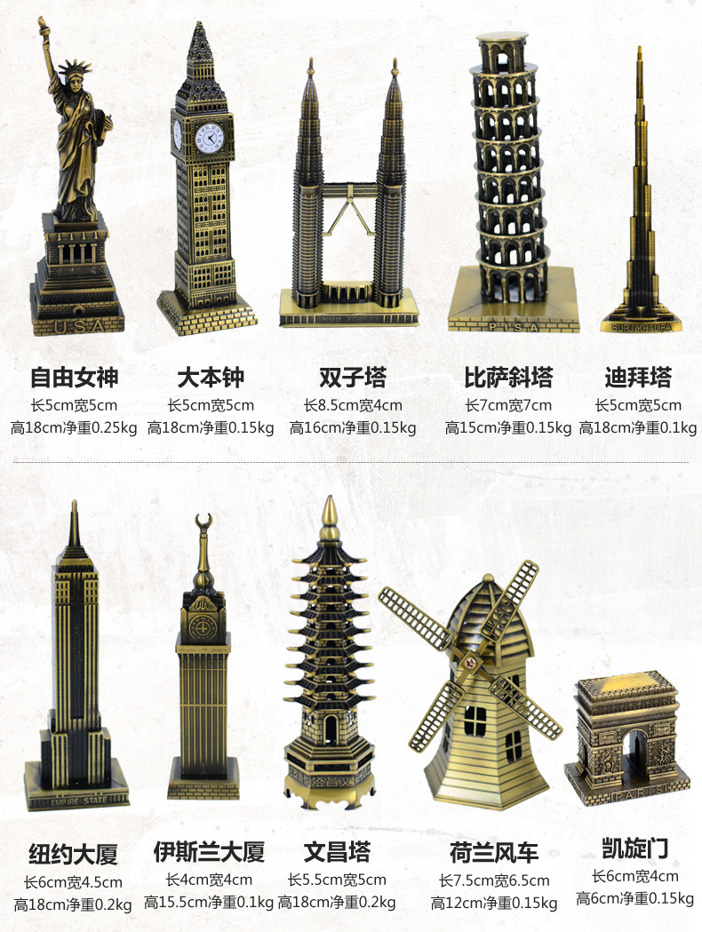 Vintage Home Decor World famous landmark Eiffel Tower in Paris building model metal crafts gifts ornaments Desktop decorations 6