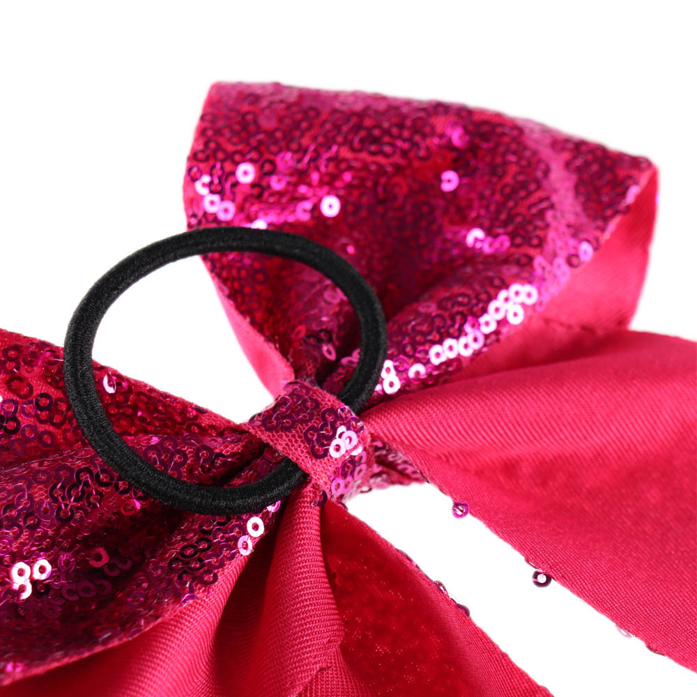 8 quot Handmade Solid Sequin Cheer Bow For Girls Children Boutique Ribbon Hair Bows with Elastic Hair Band Kids Hair Accessories in Hair Accessories from Mother amp Kids