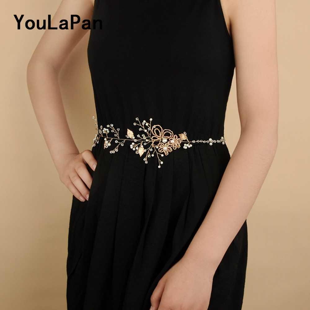 YouLaPan SH73 Wedding Belt Beaded Wedding Accessories Diamond Women Dress  Belt Wedding Sash Vine Thin Belts da4b8daedbb4